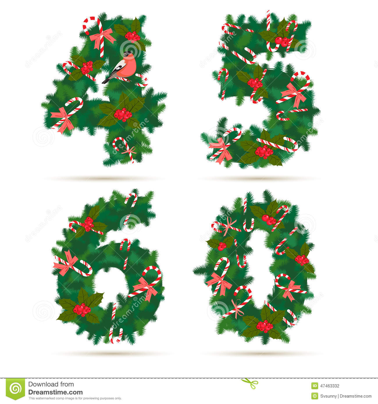 Clipart number 6 christmas clipart free library Christmas Festive Wreath Numbers: 4, 5, 6, 0. Stock Illustration ... clipart free library