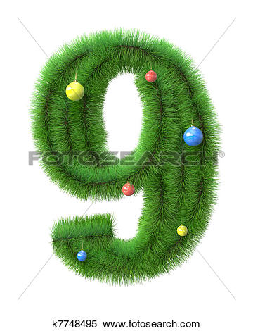 Clipart number 6 christmas free stock Stock Illustration of 6 number made of christmas tree branches ... free stock