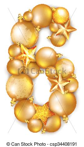 Clipart number 6 christmas svg freeuse stock EPS Vectors of Number 6 made of shiny Christmas tree balls - 6 ... svg freeuse stock