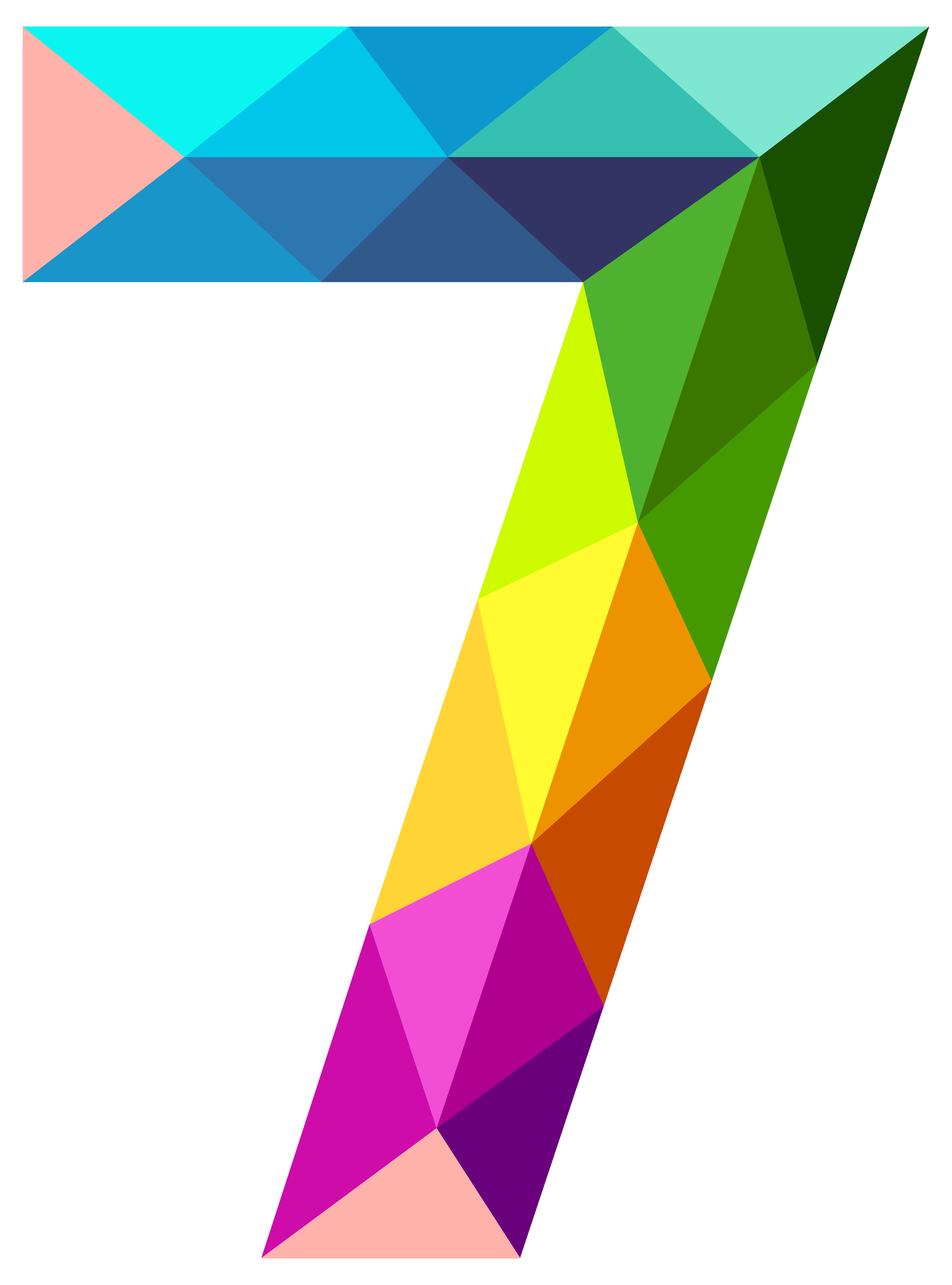 Clipart number 7 black and white library Colourful Triangles Number Seven PNG Clipart Image   Gallery ... black and white library
