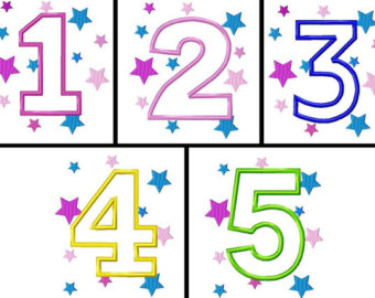 Clipartfest star embroidery . Clipart numbers 1 5