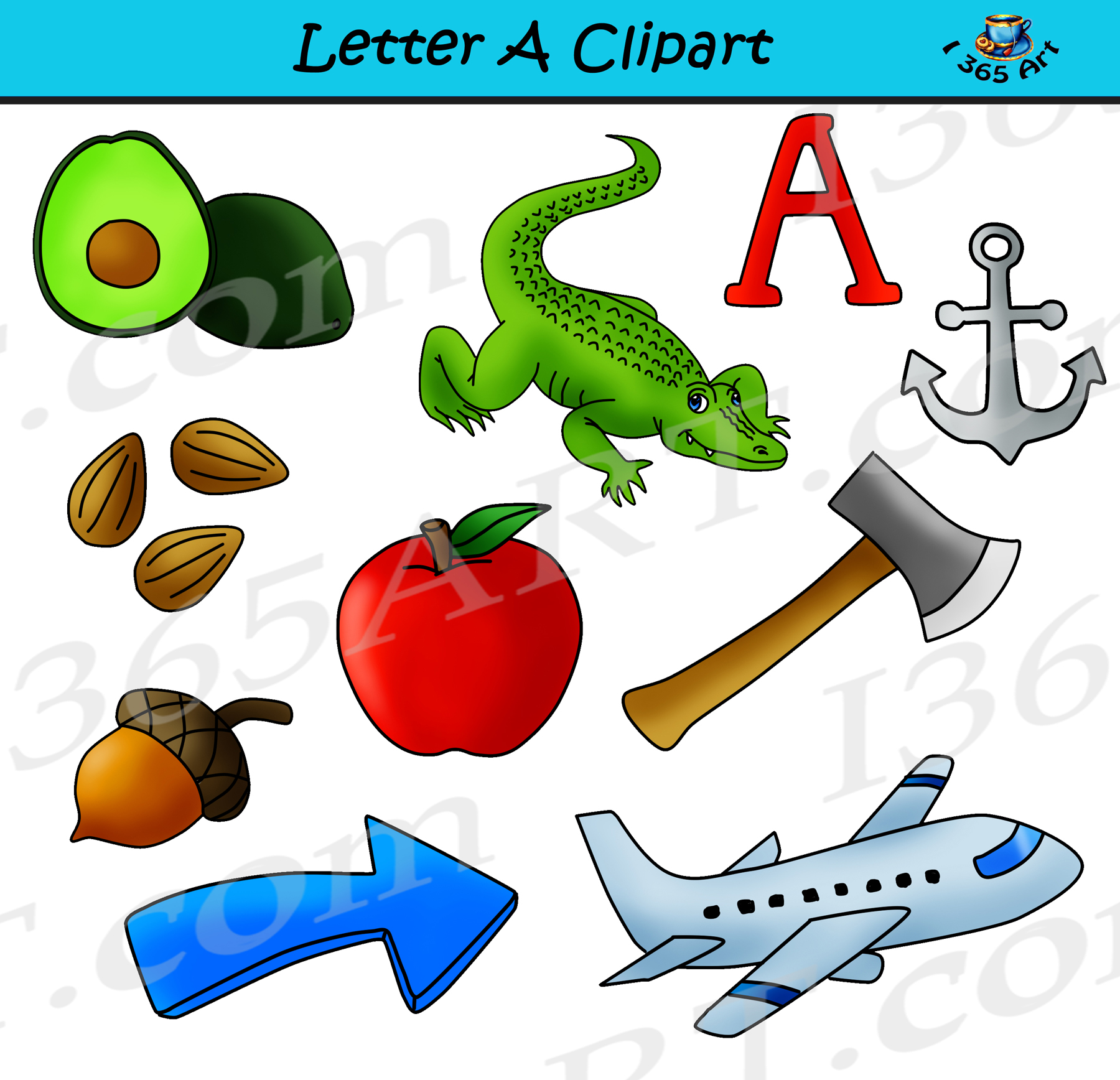 Clipart objects svg transparent library Letter A Objects Clipart - Learning The Alphabets - Commercial Clipart for  School svg transparent library
