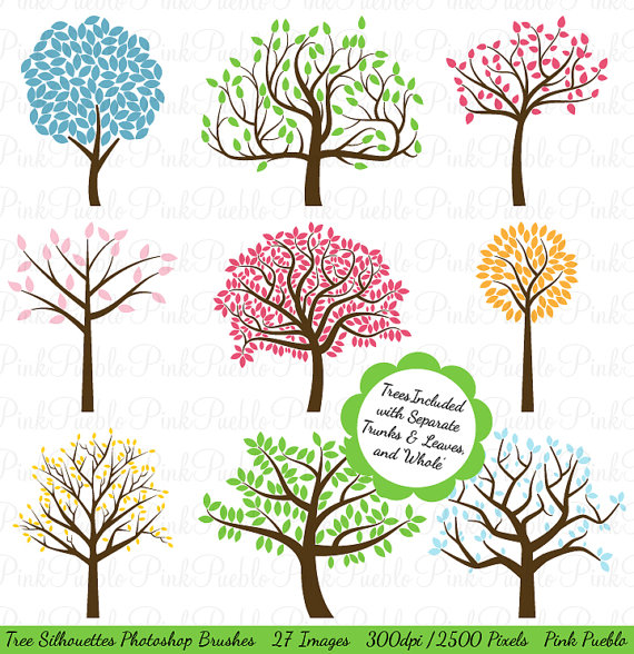 Clipart objects for photoshop vector free stock Tree Silhouettes Photoshop Brushes, Tree Photoshop Brushes ... vector free stock
