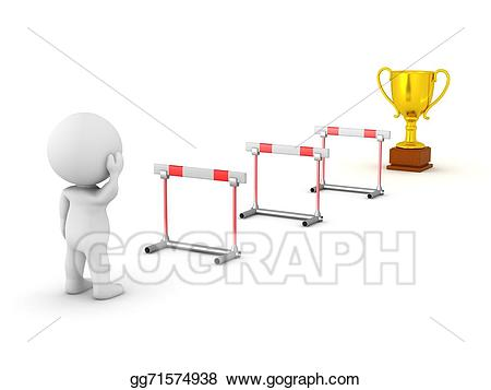 Obstacles clipart vector library stock Drawing - 3d character obstacles and trophy. Clipart Drawing ... vector library stock