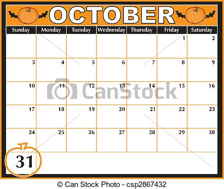 Clipart october calendar clip freeuse library Clip Art of Halloween Calendar - An October calendar showing the ... clip freeuse library