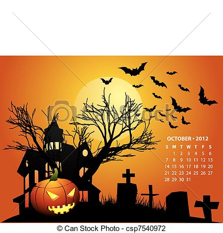 Clipart october calendar clip art black and white library October Illustrations and Clipart. 69,836 October royalty free ... clip art black and white library