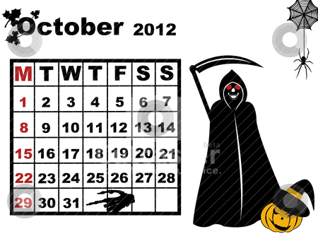 Clipart october calendar picture black and white October calendar 2012 stock vector picture black and white