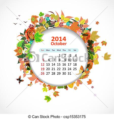 Clipart october calendar png royalty free download Vectors Illustration of Calendar for 2014, october csp15353175 ... png royalty free download