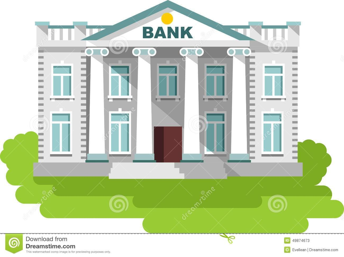 Building clipartfest. Clipart of a bank