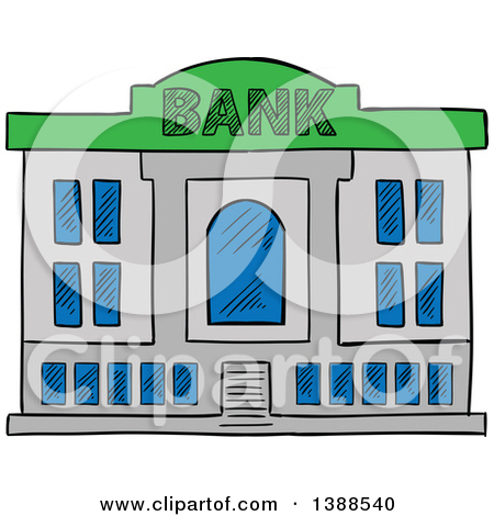 Clipart of a bank. Sketched building royalty free