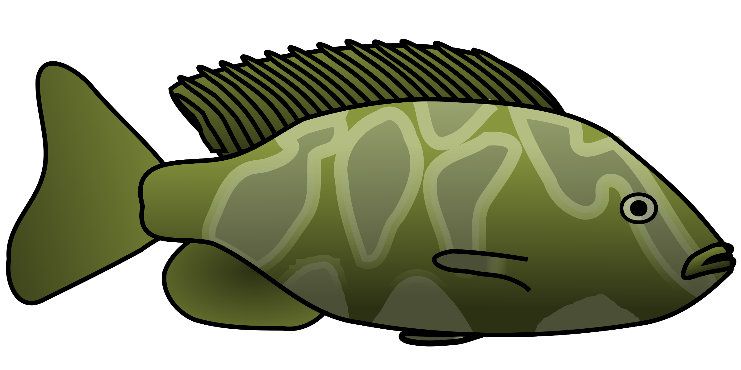 Clipart of a bass fish from a lake png black and white stock Clipart - Giraffe Cichlid png black and white stock