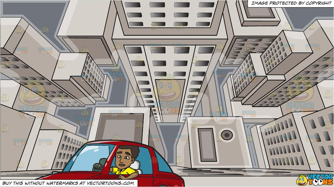 Clipart of a black guy diving a car image free A Black Man Driving A Red Sporty Car and Looking Down From The Top Of A  Skyscraper Background image free