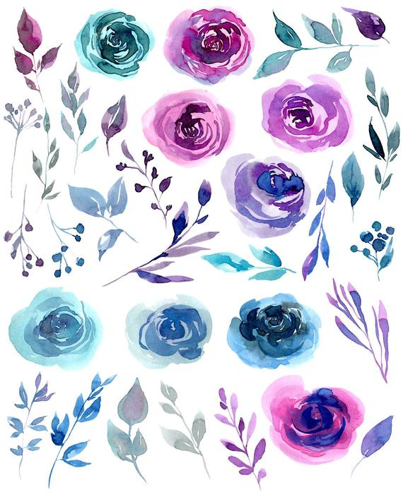 Clipart of a blue flower to print for free clip library Watercolor flowers clipart 33 PNG files on transparent background ... clip library