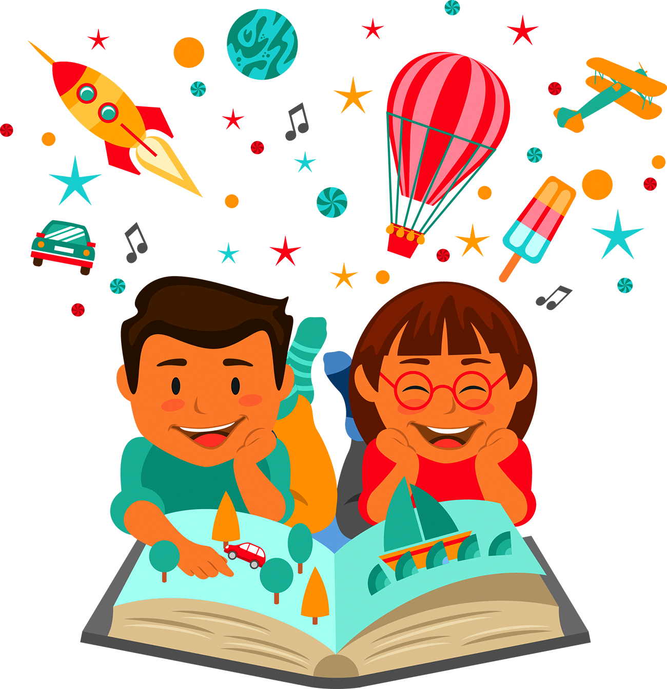 Clipart of a child reading a book graphic library Child Reading Learning Education Illustration - Children reading ... graphic library