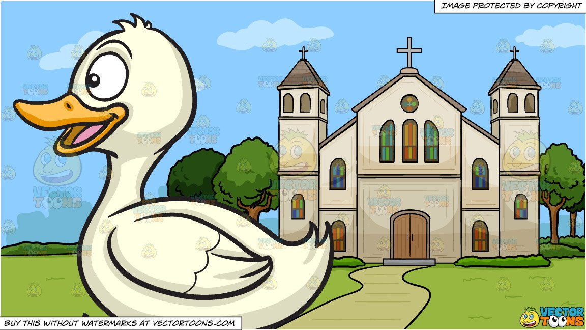 Clipart of a church with happy birds image freeuse download A Happy Running Duck and A Church Outside The City Background image freeuse download