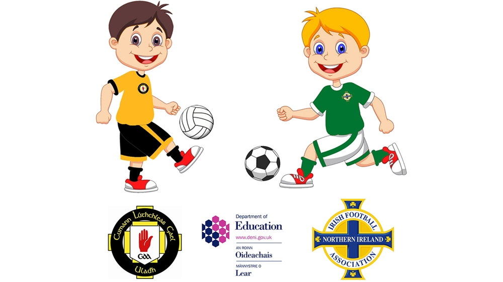Clipart of a coach grabbing a football player banner freeuse stock Irish FA and Ulster GAA welcome funding extension fo... banner freeuse stock