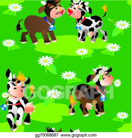Clipart of a cow in bikini vector black and white download EPS Illustration - Seamless pattern with cute cartoon cows on green ... vector black and white download