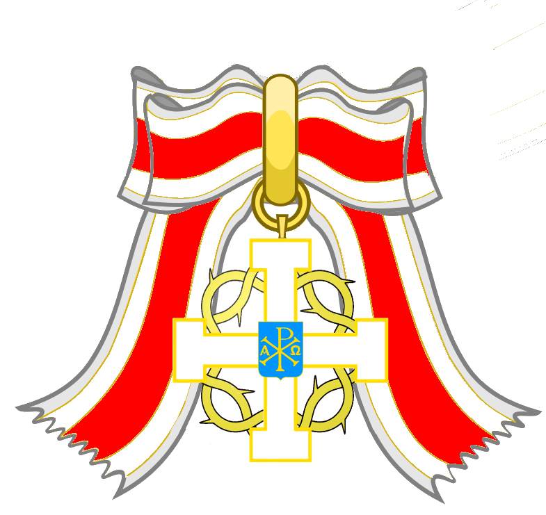 Insignia the abbey principality. Crown and sash clipart