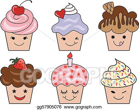 Clipart of a cupcake with a face clip art black and white stock Vector Clipart - Cute cupcake faces, vector. Vector Illustration ... clip art black and white stock