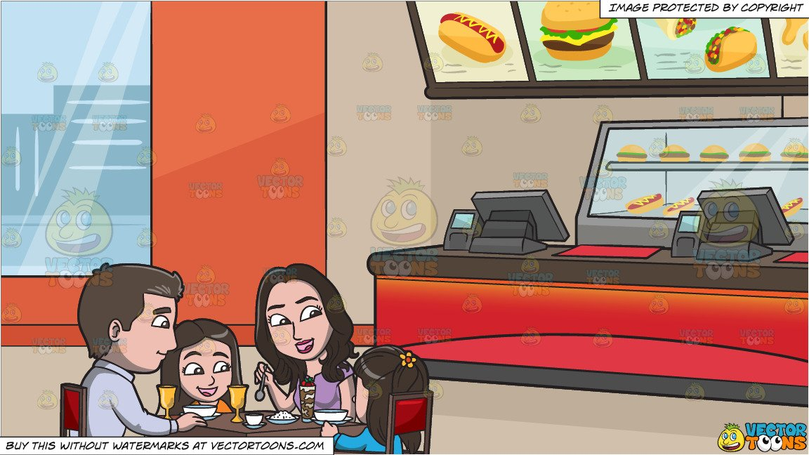 Clipart of a dinner restaurant on the inside picture black and white download A Young Family At A Restaurant For A Light Dinner and Inside A Fast Food  Restaurant Background picture black and white download