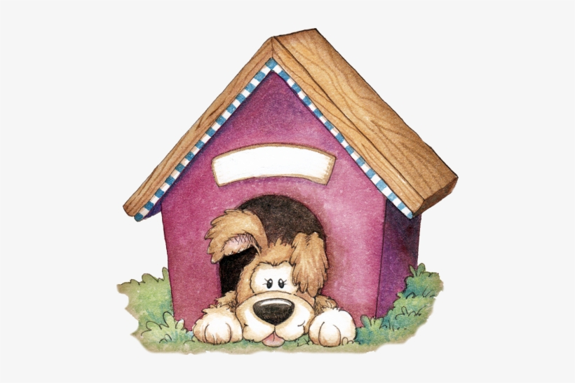 Clipart of a dog in a doghouse