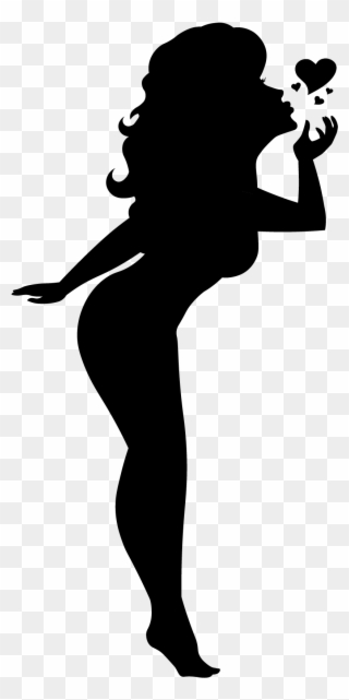 Clipart of a girl blowing a kiss graphic freeuse Blowing A Kiss Silhouette Pinup Girl Black Cutout Pin - Pin-up Model ... graphic freeuse