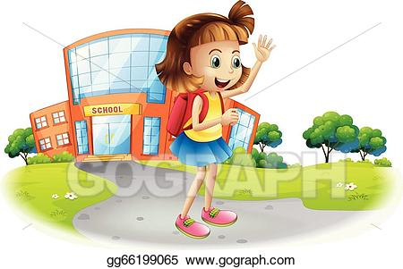 Clipart of a girl going to school clipart library download Vector Clipart - A girl going home from school. Vector Illustration ... clipart library download