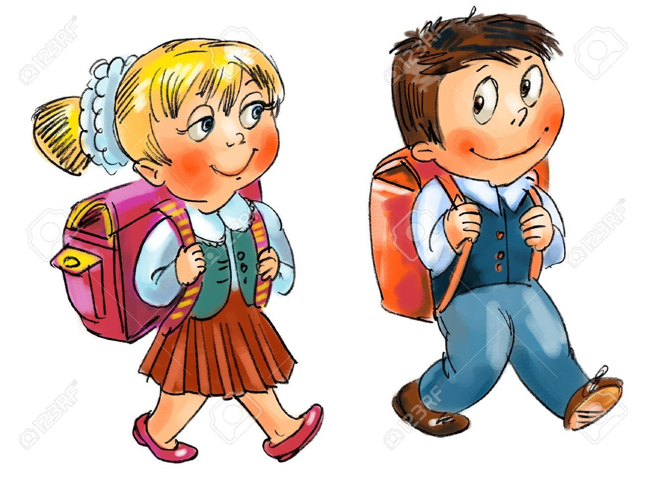 Clipart of a girl going to school png royalty free download Stock Photo | Daily activities | How to draw hands, School clipart ... png royalty free download