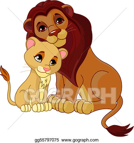 Clipart of a lion cub clip art freeuse download Vector Clipart - lion and cub together. Vector Illustration ... clip art freeuse download