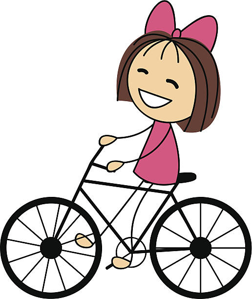 Clipart of a little girl riding a bike clip art black and white stock Girl Riding Bike Clipart | Free download best Girl Riding Bike ... clip art black and white stock