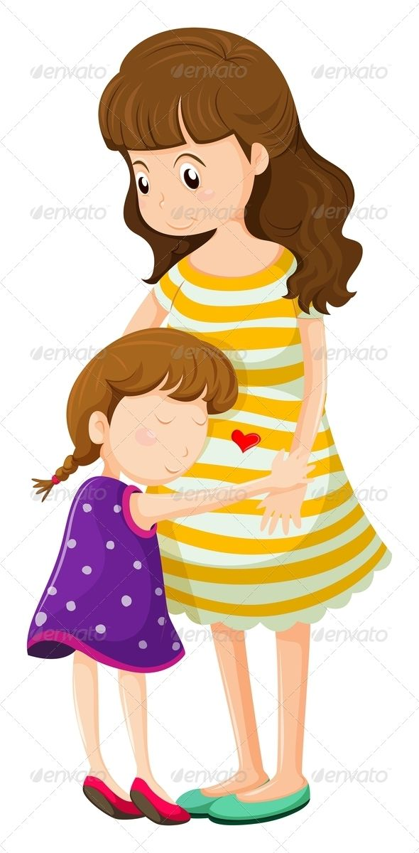 Clipart of a mom image black and white stock Daughter Hugging Her Mother - People Characters | Things to wear ... image black and white stock