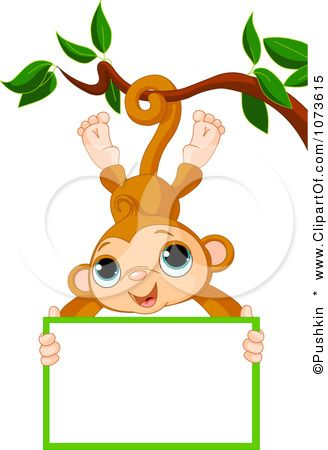 Clipart of a monkey hanging from a tree jpg Clipart Cute Monkey Hanging From A Tree With A Sign - Royalty Free ... jpg