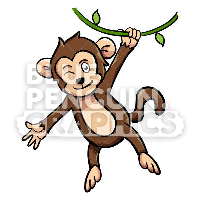 Clipart of a monkey hanging from a tree jpg Monkey Hanging on Tree Vector Cartoon Clipart Illustration jpg