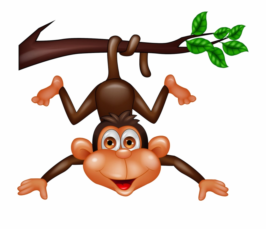 Clipart of a monkey hanging from a tree vector free stock Upside Down Hanging Monkey Clipart Download - Cartoon Monkey In A ... vector free stock