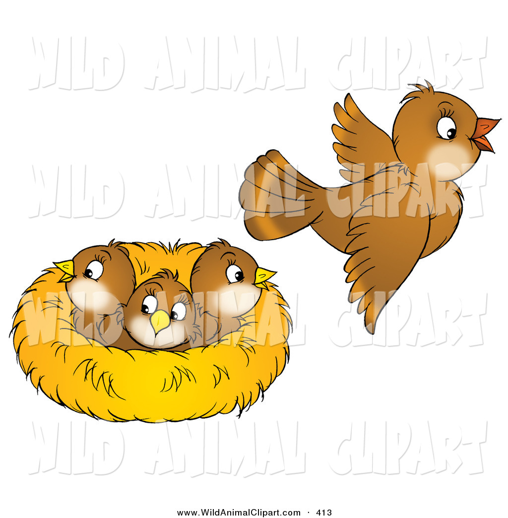 Clipart of a nest graphic royalty free stock Clip Art of a Cute Brown Bird Flying Away from a Nest with Three ... graphic royalty free stock