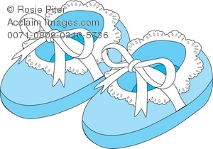 Clipart of a pair of baby booties banner royalty free stock Royalty Free Clipart Illustration of Blue Newborn Baby Slippers banner royalty free stock
