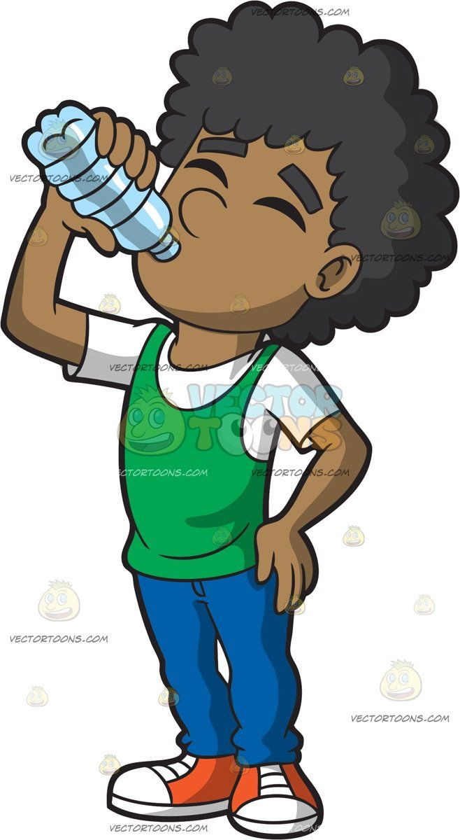 Clipart of a person pulling someone shirt graphic royalty free download A Man Drinking A Bottle Of Water: A black man with curly hair ... graphic royalty free download