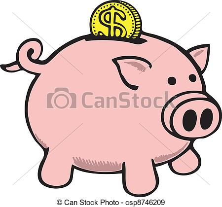 Clipart of a piggy bank. Pig with dollars clipartfest