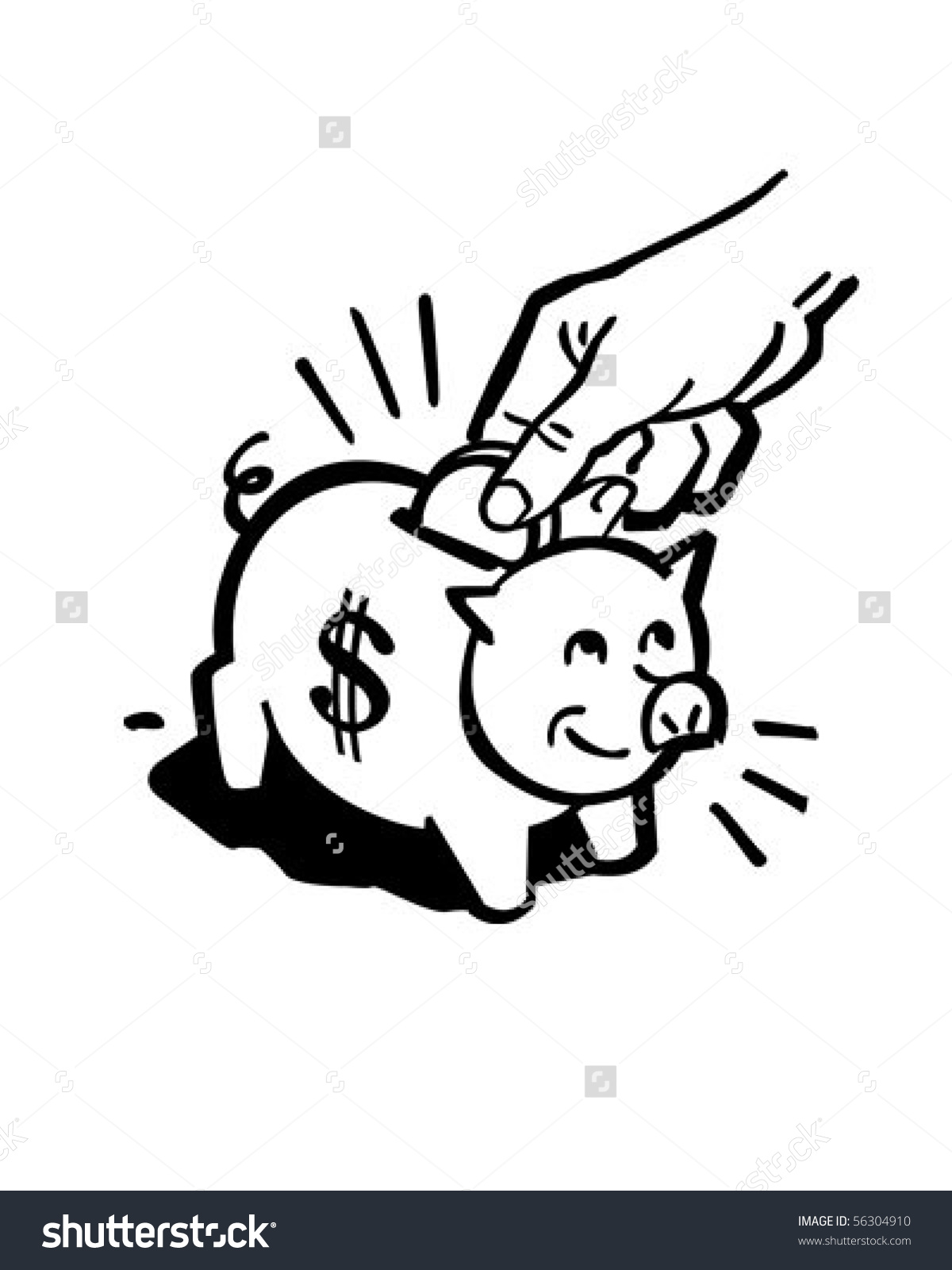 Clipart of a piggy bank. Retro clip art stock