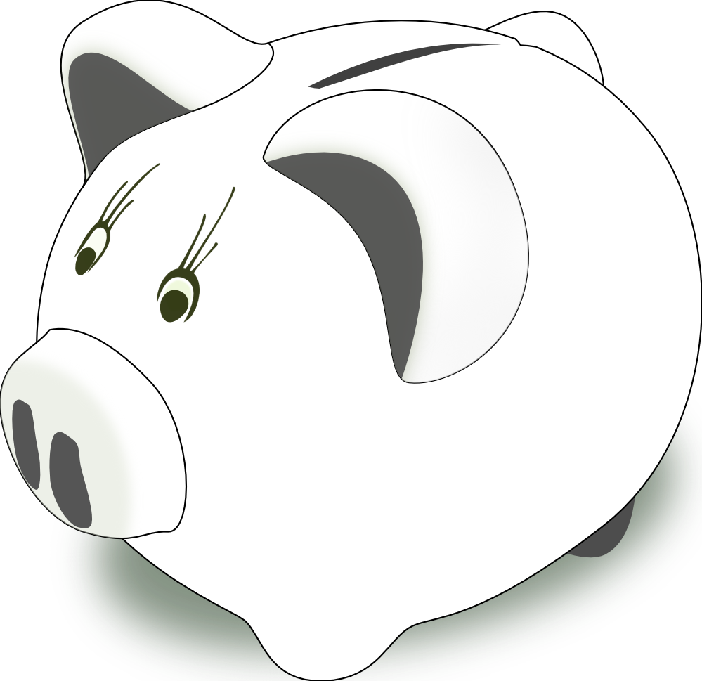 Black and white panda. Clipart of a piggy bank