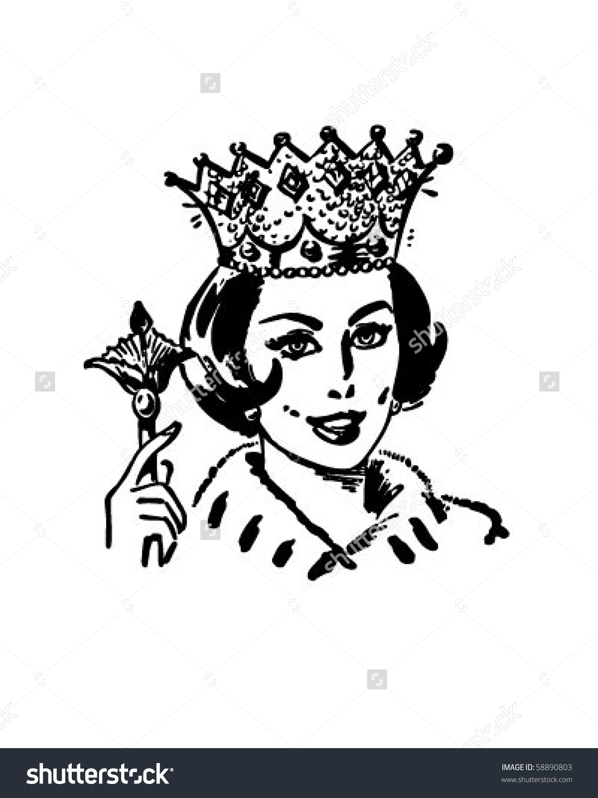 Clipart of a queen clip art black and white download Queen Household Retro Clip Art Stock Vector 58890803 - Shutterstock clip art black and white download