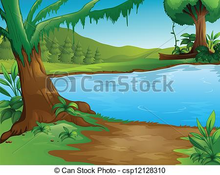 Clipart of a river image freeuse download Vector Clip Art of A river - Illustration of a river in a ... image freeuse download