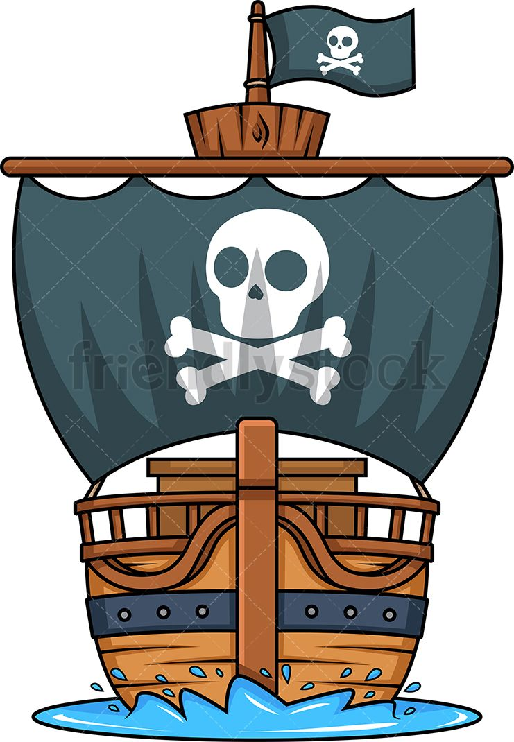 Piratae chain in water clipart black and white