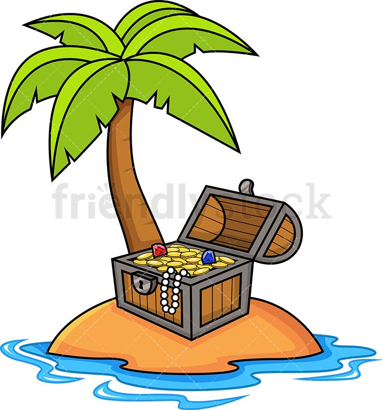 Clipart of a ship carrying gold coins graphic free Treasure Chest On A Tropical Island   gorsel graphic free