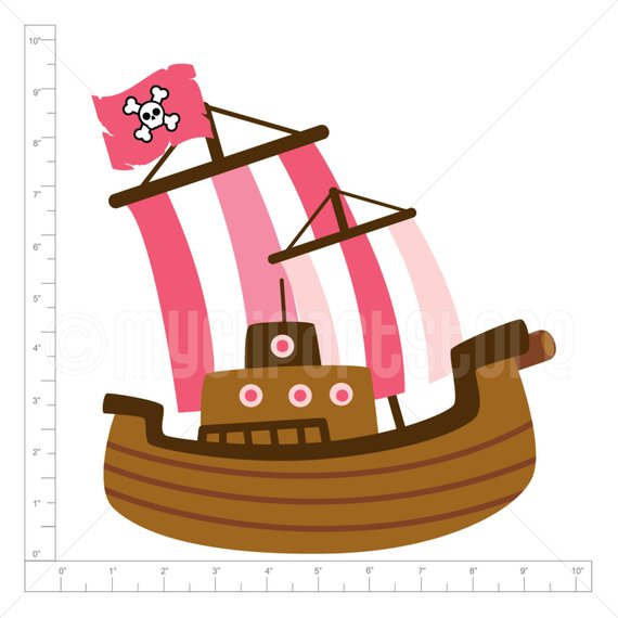 Clipart of a ship carrying gold coins png black and white library Clipart - Pink Pirate Ship / Boat / Sailing - (Single Clipart Image ... png black and white library