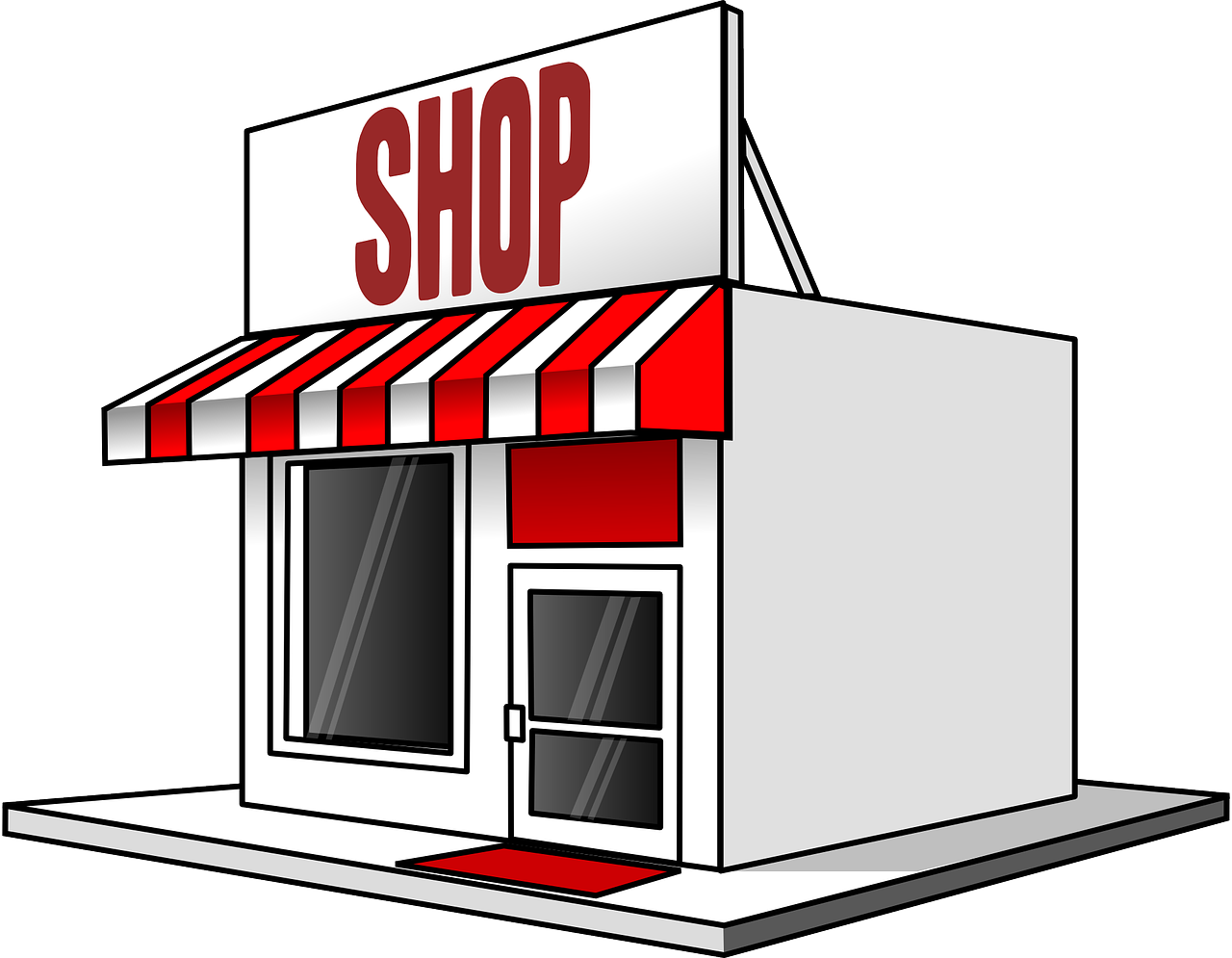 Grocery store building clipart black and white