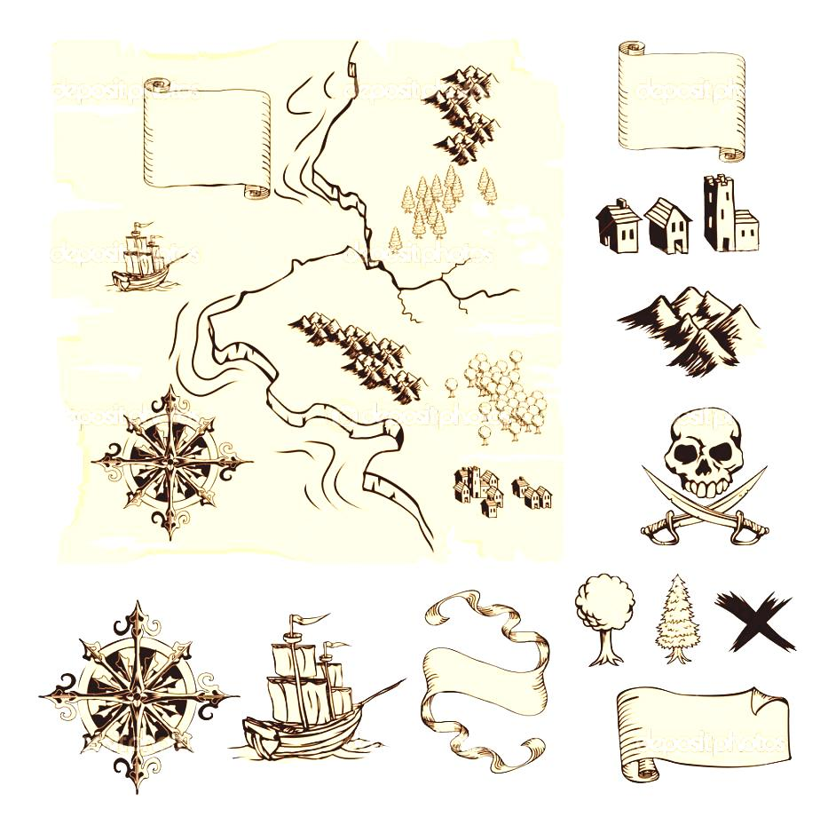Clipart of a symbol of a door in a map clipart freeuse download Treasure Map Symbols Clipart Cruise Decorations On Pinterest ... clipart freeuse download
