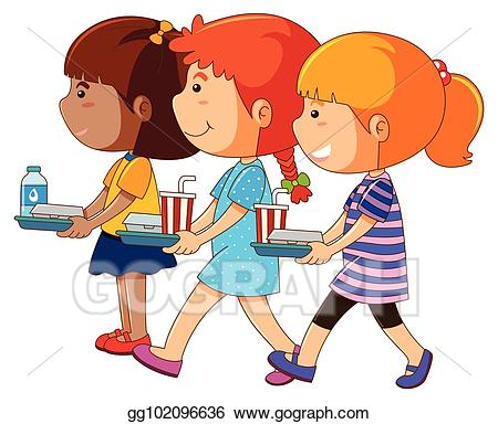 Clipart of a tray of water and food png transparent download Vector Illustration - Three girls holding tray of food. EPS Clipart ... png transparent download