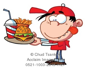 Clipart of a tray of water and food banner freeuse download A Hungry Boy Holding a Tray of Fast Food Clipart Image banner freeuse download