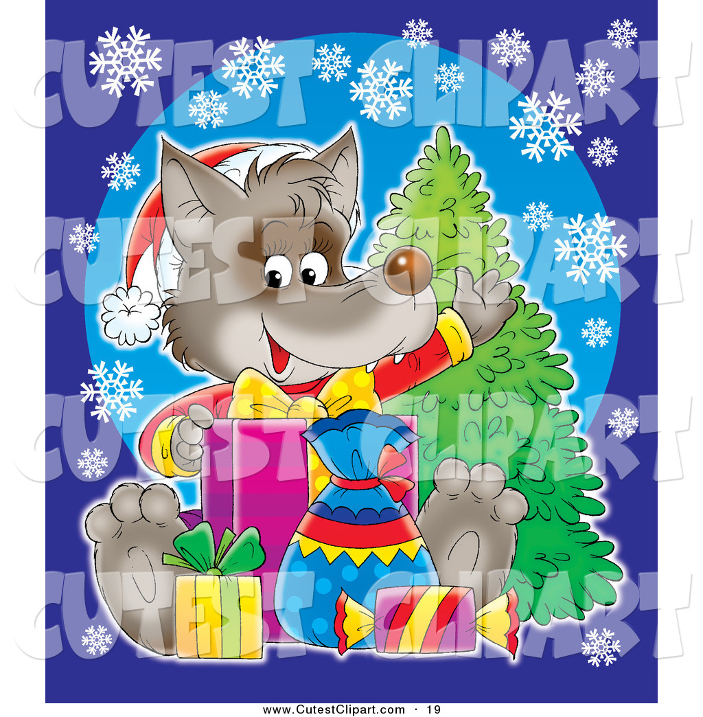 Clipart of a wolf against a tree jpg black and white stock Royalty Free Stock Cute Designs of Baby Wolves jpg black and white stock
